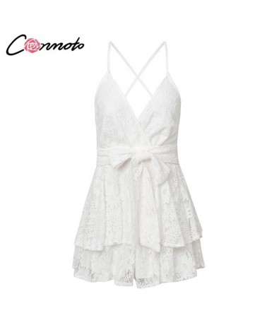 Party White Lace Elegant Playsuits Women Playsuit Beach Backless Sexy Playsuit Romper Bow Ruffles Short Jumpsuit Rompers - W...
