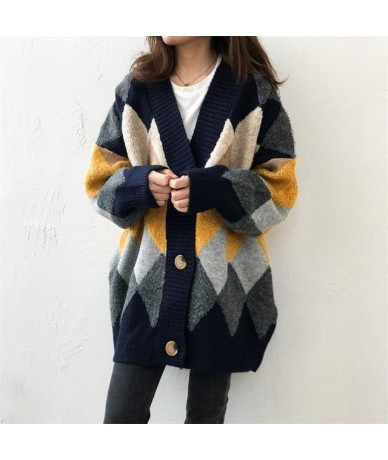 Women Spring New Sweater Cardigans V neck Geometric Warm Poncho Jumpers Loose Style Oversized Knit Overcoat Outerwear Tops -...