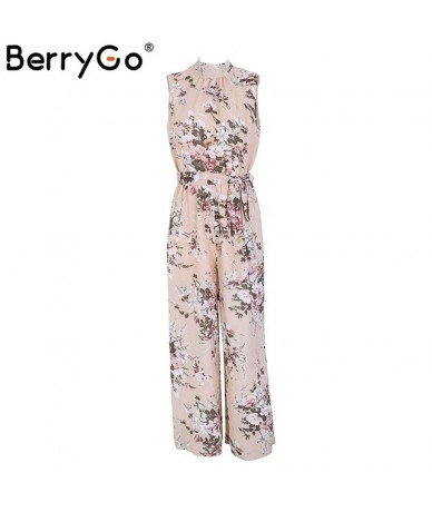 Boho floral print sleeveless long jumpsuit women High waist backless loose casual overalls 2018 spring playsuit female - Bei...