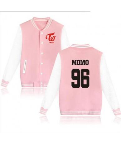 2019 New Arrivals TWICE Kpop Zip-up Harajuku Hoodies Fans Supportive K-POP Baseball Uniform jackets Men Women pink Sweatshir...