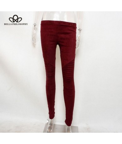 Suede Elastic Waist Push Up Pants Women Casual Skinny Pencil Pants Tight Elasticity Trousers Pantalon Femme - wine - 4A30247...