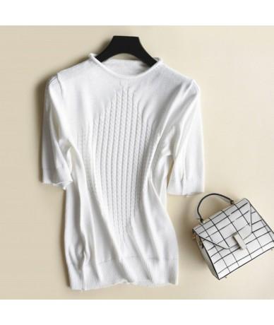 S-2XL Short Sleeve Sweater Summer Autumn Thin Pullovers Women Round Neck Twist Knit Sweaters Tops - White - 4N3011645188-4