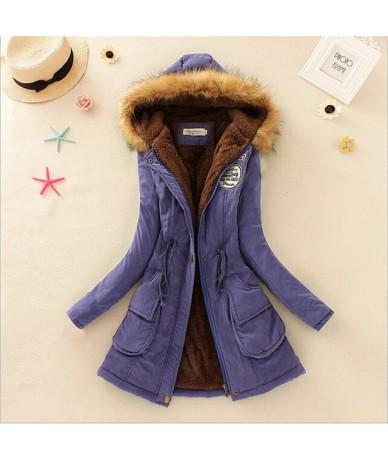Winter Women Coat 2018 Women 'S Parka Casual Outwear Military Hooded Fur Coat Down Jackets Winter Coat For Female Cc001 - bl...