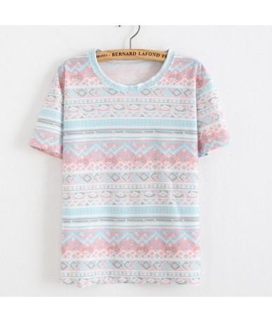 2019 women summer new rainbow Striped t shirt all-match cotton short sleeve harajuku T-shirt fashion ladies tops - 6 - 4K383...