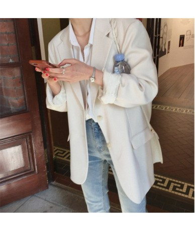 Office Ladies Korea Brief Solid Autumn Elegant Vintage Slender All Match Women Loose Coat Chic Feminine Regular Blazers - WH...