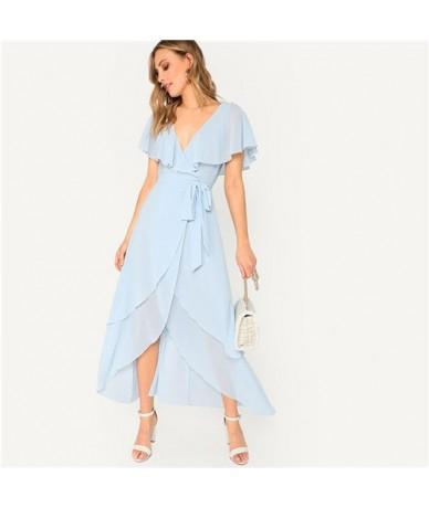 Blue V Neck Self Belted Surplice Wrap Asymmetric Elegant Cape Dress Women 2019 Summer A Line Office Ladies Long Dresses - Bl...