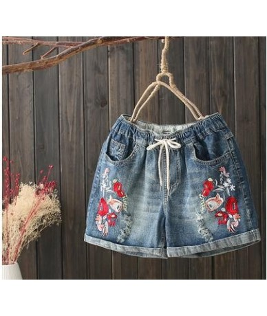 Jeans Shorts Plus Size Denim Shorts Female Casual Print Embroidery 2018 Spring Summer Fashion High Waist Jeans Woman Holes M...
