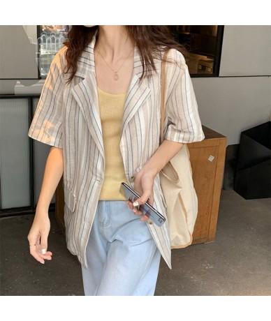 Fall Summer Korea Striped Female Blazer Top Office Cotton Simple Loose Blazer Button Casual Short Sleeve Blazer Coat - As Pi...