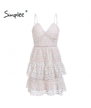 Sexy v-neck embroidery women dress Spaghetti strap hollow out ruffled summer dress Elegant party mini dress vestidos - White...
