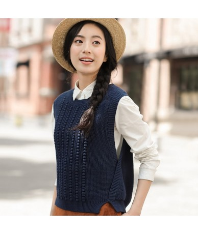 Women'S Autumn New Round Neck Sleeveless Knitted Vest Loose Sweater Vest All-match - Ginger - 443939355136-3