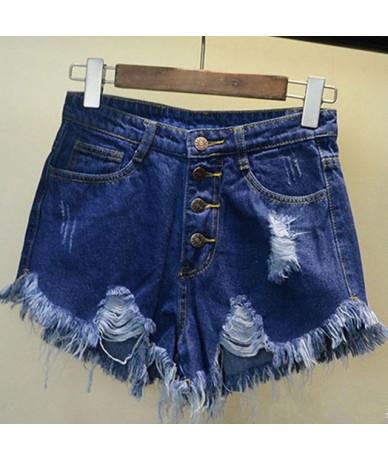 2019 Womens Sexy High Waist Tassel Ripped Jeans Summer Large Size Denim Shorts SL0602 - Blue - 4Y3089522200-2