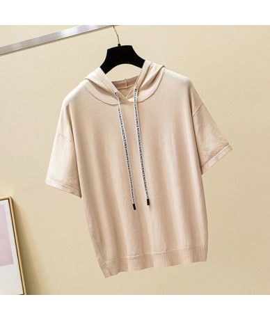 New women's shirt casual short-sleeved pullover 2018 summer women's knit solid color hooded collar warm sweater - apricot - ...