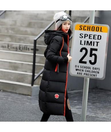 2019 winter women long slim warm parka coat female large size hooded solid color cotton jacket jaqueta feminina inverno - BL...