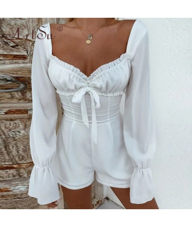 Women White Playsuit New Sexy V-Neck Ruffle Long Sleeve Bodycon Short Jumpsuit Female Lace Up Bow Backless Casual Overalls -...
