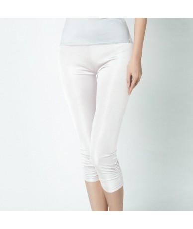 100% Pure Silk Women's Calf-Length Pants Slim Solid Female Pantalones Ladies Mujer Simple Women Trousers For Woman - white -...