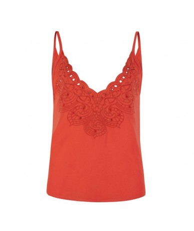 Women Camisole Top Solid Color V Neckline Sleevless Embroidery summer tops for women 2019 Hollow Out Scalloped Sexy Street W...