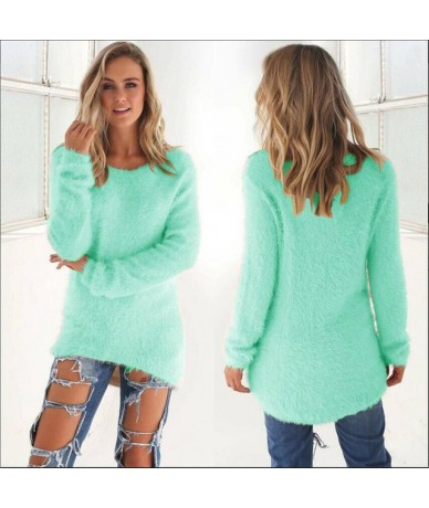Pullovers 2019 Autumn Winter Women O-Neck Sweater Loose Knitted Ladies Sweater Female Plus Size Casual Solid Color Plush Swe...