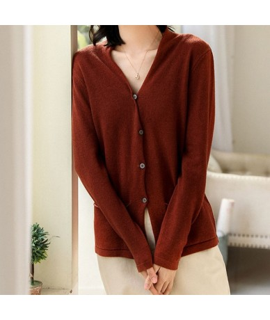 Sale 2019 Spring Women's 100 Wool Knit Cozy Cardigan Pockets Solid Color Sweater Seasons Casual Jacket & New Color Model But...
