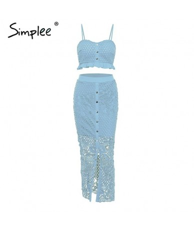 Hollow out bodycon midi women summer dress Embroidery two-piece co-ord button female sundress Elegant holiday vestidos - Blu...