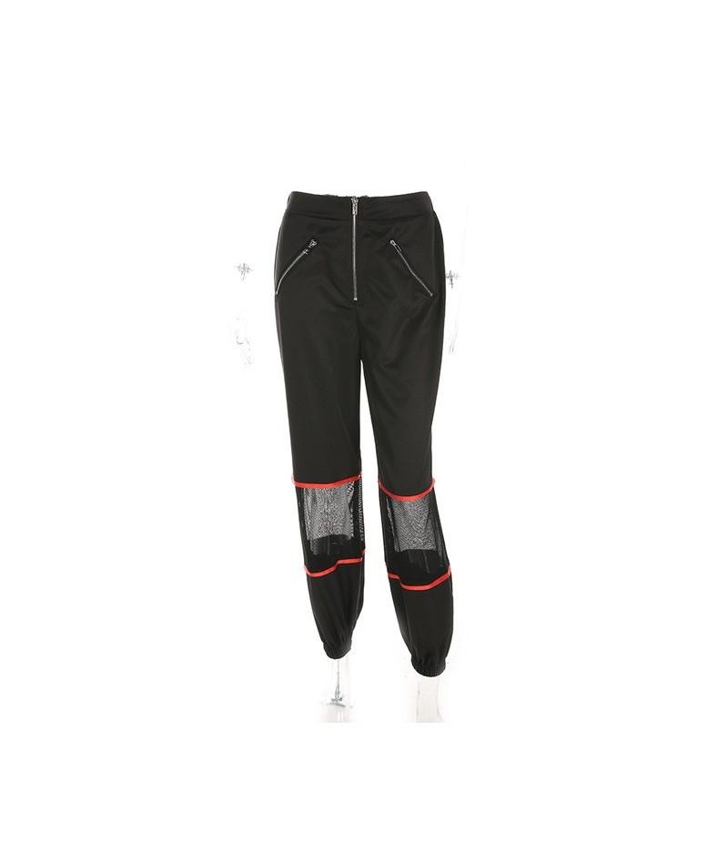 2019 Black Mesh Patchwork Zipper Jogger Pants Women Loose Casual High Waist Trousers Women Streetwear Pantalon Hip Hop Pants...