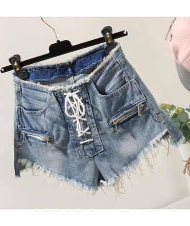 plus size 26-32!2019 summer new fashion zipper high waist shorts women college style lace up - light blue - 5U111187272655-2
