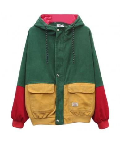 Women Unisex Color Block Patchwork Corduroy Hooded Jacket Hip Hop Coat Oversized - GN - 453023160847-2