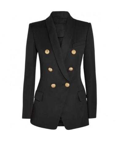 HIGH STREET New Fashion 2019 Designer Blazer Women's Long Sleeve Double Breasted Metal Lion Buttons Long Blazer Outer Wear -...