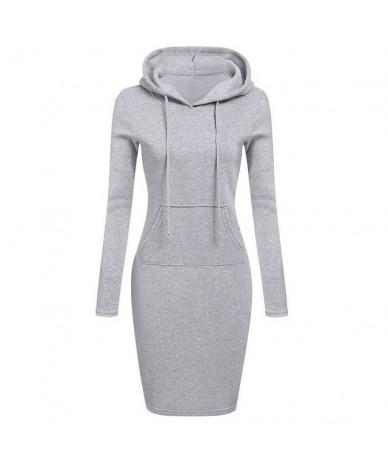 Women long Sleeves Hoodies Sweatshirt Dress Pockets Pullover 2019 Casual Sweatshirt Female Slim Hoody Dress Vestidos - Gray ...
