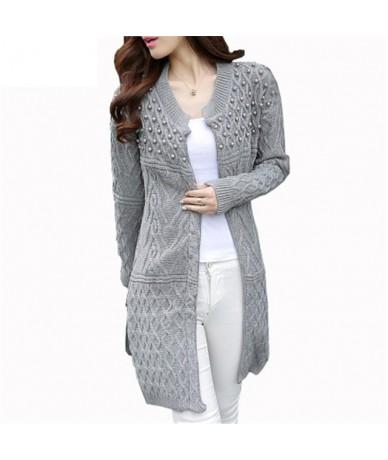 Women Long Cardigan 2019 Autumn Bead Pearl Long Knitted Sweaters Outwear Long-Sleeve Casual Loose Female Sweater - gray - 40...