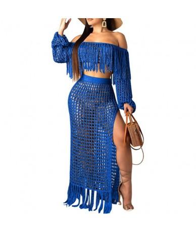 2019 New Summer Two Piece Set Crochet Dress Women Hollow Out Perspective Off Shoulder Tassels Crop Tops And Skirt Set Beach ...