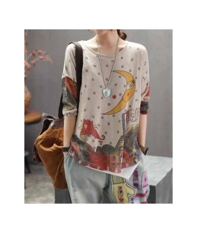 Spring Sweater Women Retro Loose Print Pattern Pullovers Pullovers Tops Ladies O-Neck Casual Streetwear Blended Sweater Z3A0...