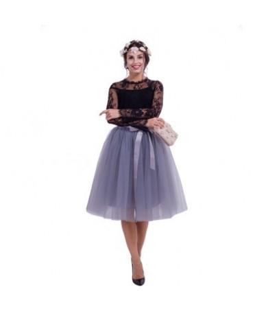 5 Layered 65cm Knee Length Tulle Skirt Tutu Women Skirt High Waist Pleated Skirt Cosplay Petticoat Elastic Belt Faldas - gra...