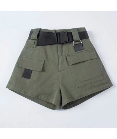 High Waist Wide Leg Cargo Women's Shorts Vintage Sashes Solid Khaki Pocket Women Short Pants 2019 Summer New Casual Lady Bot...
