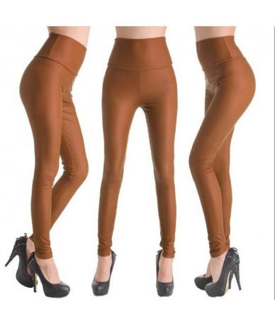 2019 New Women Sexy Leggings Faux Leather Stretch Legging High Waist Leggings Juniors Pants 4 size - NO8 Light Coffee - 4B38...
