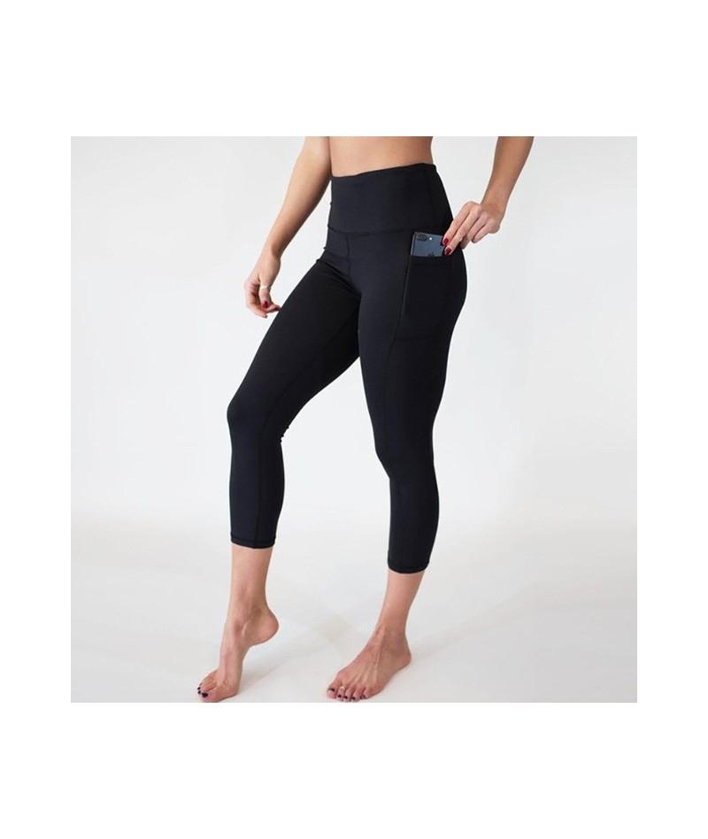 Leggings Workout Women Seamless Jegging Fitness High Waist Plus Size Pocket Holographic Nine Pants Black 2019 Pants - 1 - 4E...