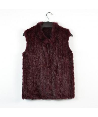 woman girl real rabbit fur vest jacket spring winter warm genuine rabbit fur knit coat vest black beige - khaki - 4L39501038...