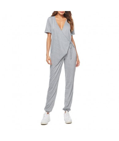 Solid Loose Jumpsuits Women Casual Sexy deep V-Neck Short Sleeve Playsuits Jumpsuits Rompers 0913 A487 - Gray - 4L3031376498-3