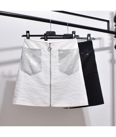 Summer high waist zipper silver a word bag hip heavy work silver sequin skirt - Black - 424173606940-1