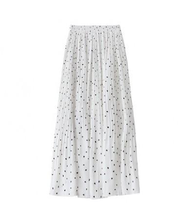 2019 Summer Women Print Chiffon Skirts Mid Calf White Elastic Waist Pleated Skirt Black - White - 463005564336-2