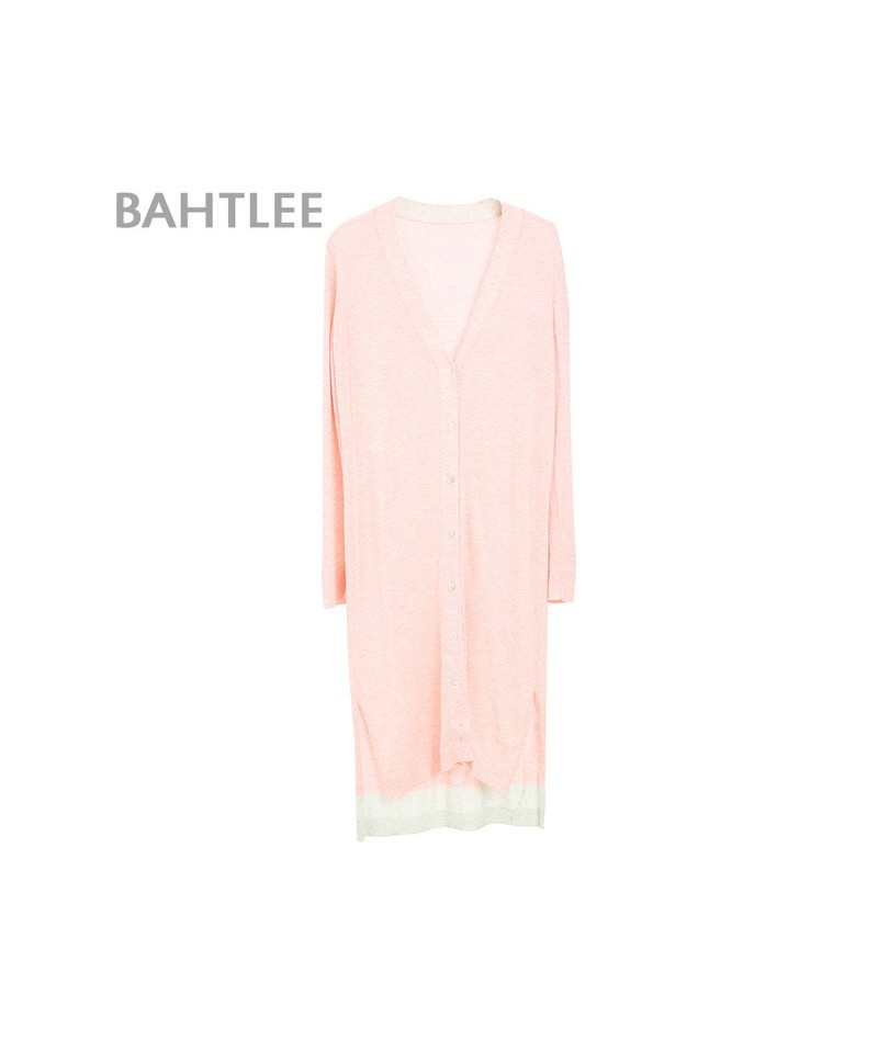 spring Women's tencel Coat Knitted long Cardigan sweater anti-ultraviolet v-neck Long Sleeves wool thin light Button - Pink ...