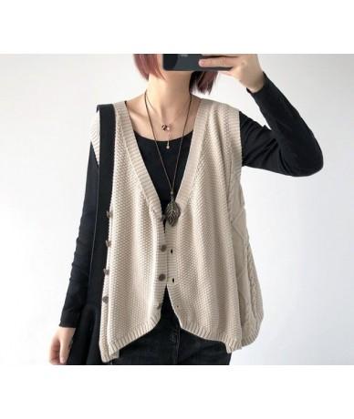 Korea irregular v-neck Sweater Autumn Spring 2019 Women Thin Loose loose long-sleeve knit cardigan Fashion sweater - 3 - 433...