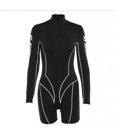 New women's letter print sports fitness long-sleeved jumpsuit - Black - 33015260219