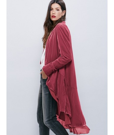Autumn Velvet Women New Jackets Coats Chiffon Ruffles Elegant Long Chic Outerwear 2018 Female Slim Boho Maxi Overcoat - Pink...