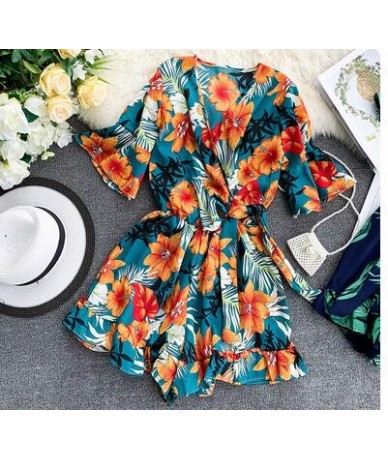 Women's V neck flare sleeve flower print Playsuits Lady's Vintage Summer Wide leg shorts beach vacation Jumpsuits TB1036 - p...