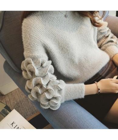 Korean Fashion Three-dimensional Flower Knitted Sweater Women Slim Fit Solid Wool Pullovers Vintage Streetwear - gray - 4330...