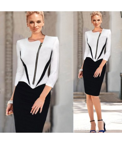 2018 Ladies Elegant Long Sleeve Black and White Dress Pencil Women Formal Dresses Suit for Work Party Tunic Office Bodycon -...