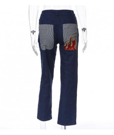 Fashion street print flame pocket casual jeans women - Blue - 5C111181501798
