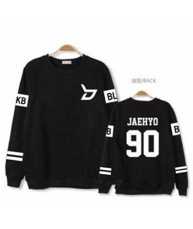 Kpop block b concert same member nname printing o neck sweatshirt unisex zico p.o pullover thin hoodie for spring - 2 - 4R38...