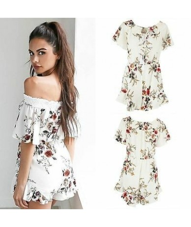 Fashion Womens Ladies Stylish Sexy Off Shoulder Floral Printing Short Sleeve Summer Short Jumpsuit Casual Rompers Playsuits ...