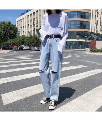 Mihoshop Ulzzang Korean Korea Women Fashion Clothing High Waist Preppy Hole Wide Leg Denim Jeans Pants - see chart - 4C30024...